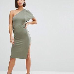 Deep One Shoulder Bodycon Midi Dress